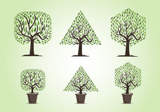 Set of trees with different forms Royalty Free Stock Images