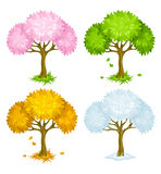 Set of trees from different seasons Royalty Free Stock Image