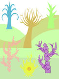 A set of trees. Different types of trees like in a fairytale royalty free illustration