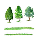 Set of trees drawing by watercolor Stock Photos