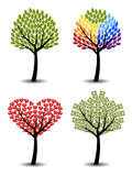 Set of trees. Eco, rainbow, hearts, money. Royalty Free Stock Image