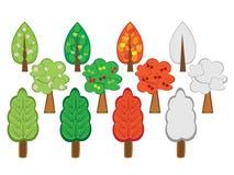 set trees för tecknad film Arkivfoto