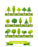 Set of trees. Flat design. Summer tree symbols. Tree icons. Royalty Free Stock Photography