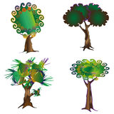 Set of trees. Set of funny trees for decoration, design and creation of forests Royalty Free Stock Images