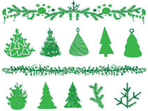 Set of trees and garlands. Royalty Free Stock Photo