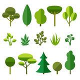 Set of trees. Grass and bushes  on white background. Flat style vector illustration Stock Image