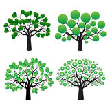 Set of trees and Green Leafs Royalty Free Stock Photo