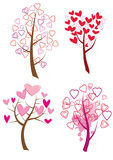 Set of trees with hearts Stock Image
