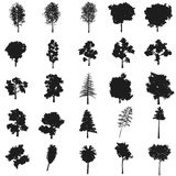 Set trees illustration. Vector. Black icon on white background. Royalty Free Stock Image