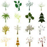 Set of trees isolated over white background Stock Photography