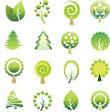 Set of trees and leaf. Stock Photo