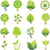 Set of trees and leaf. royalty free illustration
