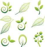 Set of trees and leaf. Royalty Free Stock Photos