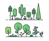 Set of trees line style. Forest and garden tree. Collection of trees in the woods. Line style set of forest vegetation landscape. Trees, grass, bushes and vector illustration