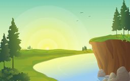 Sunrise in riverside, illustration of beautiful river landscape. Meadow and sunrise vector illustration, river landscape  with green field with sunrise on the Royalty Free Stock Photos