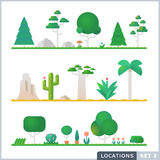 Set of trees, rocks, bushes and grass. Vector flat illustrations. Cartoon Plants Royalty Free Stock Photography