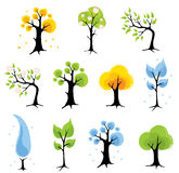 Set trees - seasons vector illustration