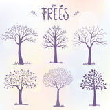 Set of trees silhouette Stock Image