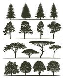 Set of trees silhouettes Stock Photography