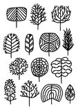 Set of trees in a sketch style. Vector illustration stock images