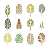 Set of trees in spring soft colors. Stock Images