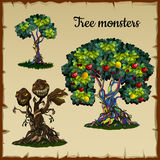Set of trees and tree monster with dragon heads vector illustration