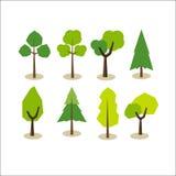 Set of trees. Tree symbols. Tree icons. Flat design Stock Photos