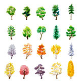 Set of trees on white. watercolor illustration Royalty Free Stock Photo