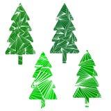 set treesvektor för jul fyra På white Royaltyfri Fotografi