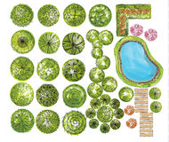 Set of treetop symbols, for architectural or landscape design Royalty Free Stock Images
