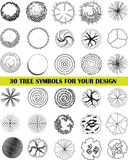 A set of tree top symbols. 30 different tree symbols in a top view for architectural or landscape design, black and white vector drawing Stock Photo