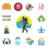 Set of trekking, solar panel, facility, jellyfish, revolver, navy anchor, firemen, recycle, woodwork icons. Set Of 13 simple  icons such as trekking, solar panel Royalty Free Stock Photography