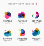 Set of trendy abstract, vibrant and colorful icons Stock Photo