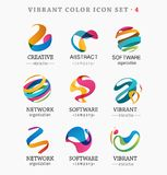 Set of trendy abstract, vibrant and colorful icons. Elements royalty free illustration