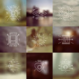 Set of trendy badges and blurred backgrounds Stock Photos