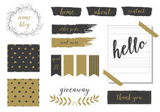 A set of trendy blog design elements in blush pink. Gold and black. Buttons, wreaths, icons, arrows, decorative borders and text dividers.  Polka and wreath Stock Photo