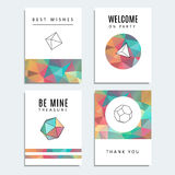 Set of trendy cards, polygon style with hipster geometric shapes,. Illustration backgrounds Royalty Free Stock Image