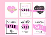 Set of Trendy Chic Valentine s day Sale cards. Or banners. Vector. Artistic background for advertising, blog, wedding, anniversary, greeting card, birthday Royalty Free Stock Image