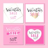 Set of Trendy Chic Valentine s day Sale cards. Or banners. Vector. Artistic background for advertising, blog, wedding, anniversary, greeting card, birthday Stock Photos