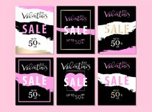 Set of Trendy Chic Valentine s day Sale cards. Or banners. Vector. Artistic background for advertising, blog, wedding, anniversary, greeting card, birthday Stock Image