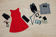 Set of trendy clothes. Outfit of man and woman clothes and acces Royalty Free Stock Image