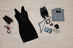Set of trendy clothes. Outfit of man and woman clothes and acces Royalty Free Stock Images