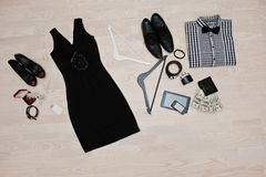 Set of trendy clothes. Outfit of man and woman clothes and acces Royalty Free Stock Photos