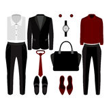 Set of  trendy clothes. Outfit of man and woman clothes and accessories Stock Photography
