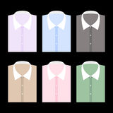 Set of trendy color men's shirt with white collars vector illustration