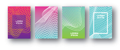 Set of 4 Trendy Colorful Gradient Future Geometric Shapes Covers template. Minimal geometry blend halftone design for. Banners, flyers, invitation, posters vector illustration