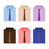 Set of trendy colorful men's shirts with ties Royalty Free Stock Images