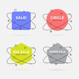 Set of trendy flat geometric banners. Vivid transparent banners in retro poster design style. Vintage colors and shapes. royalty free illustration