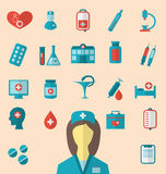 Set trendy flat icons of medical elements and nurse Royalty Free Stock Photography