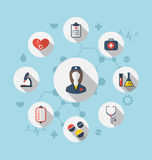 Set trendy flat icons of medical elements and nurse Stock Photos